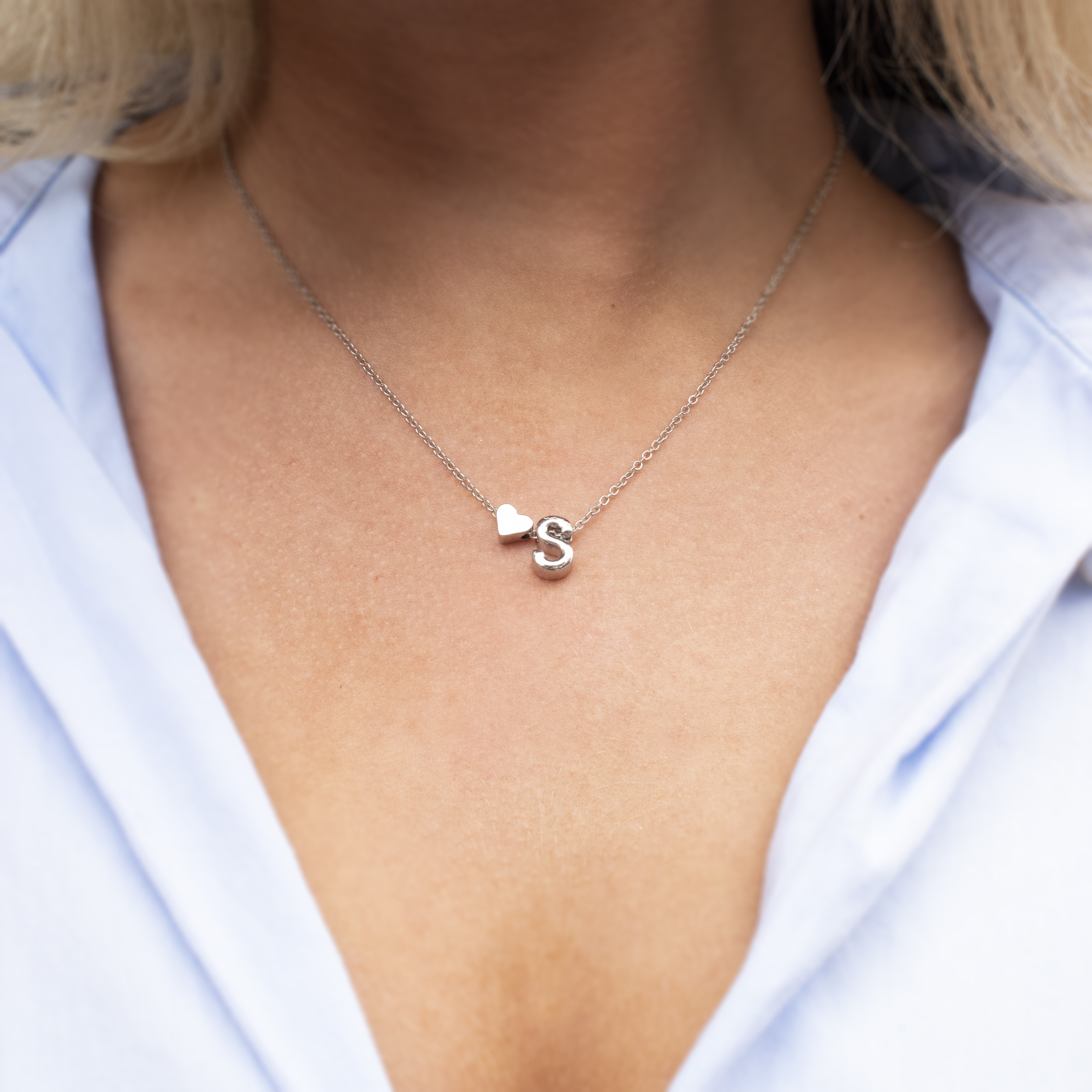 LOVE HEART INITIAL NECKLACES