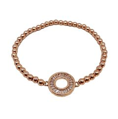 ROSE GOLD CRYSTAL CUT OUT CIRCLE STACK BRACELET