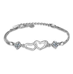 DOUBLE HEART CHAIN STERLING SILVER BRACELET
