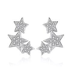 TRIPLE STAR STERLING SILVER STUD EARRINGS