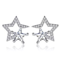 CRYSTAL STAR STERLING SILVER STUD EARRINGS