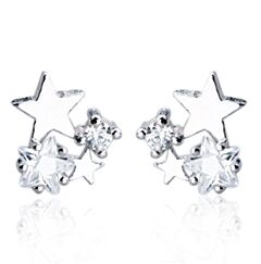 CLUSTER STAR STERLING SILVER STUD EARRINGS