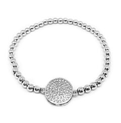 CRYSTAL DISC STERLING SILVER BRACELET