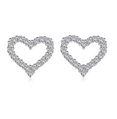 CRYSTAL HEART STERLING SILVER STUD EARRINGS
