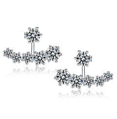 AUSTRIA CRYSTAL STERLING SILVER STUD EARRINGS