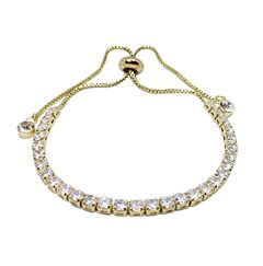 ALL ROUND CRYSTAL GOLD PLATED BRACELET WITH CRYSTAL DROPLETS