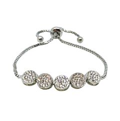 CUBIC ZIRCONIA CRYSTAL SILVER PLATED BRACELET