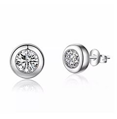 CRYSTAL ROUND STERLING SILVER STUD EARRINGS