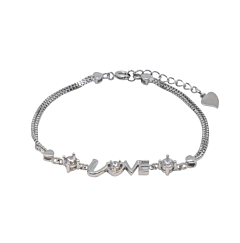 CRYSTAL LOVE STERLING SILVER BRACELET