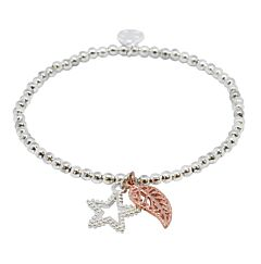 ROSE GOLD LEAF AND STAR SILVER PLATED