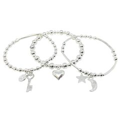 3 STACKED SILVER PLATED BRACELETS